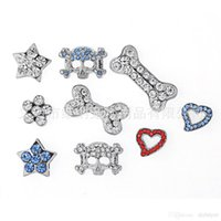 Wholesale Personalized Pet Jewelry - 10mm Rhinestones Personalized Paw Pet Collar Slide Charm! DIY Dog Pet Collar Slide Charm Pet Accessory Pet Fashion Pet Jewelry 525