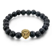Wholesale Food Lion - 2016 Gold Leo Lion Head Bracelet 8mm Black Lava Beaded Natural Stone Bracelets For Women And Men Jewelry Pulseras SBR160001