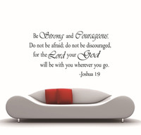 Wholesale Wall Decals For Kids - ZY8127 Christian Inspirational joshua Quotes Vinyl Lettering Wall Stickers 8127 Decals for Living Bedroom Home Decoration English Quote