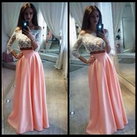 Wholesale Top Skirt Prom Dress - Two Pieces Prom Dresses White Lace Long Sleeve Top Satin A Line Girls Formal Evening Gowns Off Shoulder 2017 Cheap Wear Pink Skirts