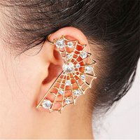 Wholesale Cobweb Earrings - Wholesale-1piece Summer Style Cobweb Cartilage Rhinestone Ear Cuff Wrap New Fashion Party Clip Earrings Jewelry For Women
