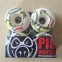 Wholesale Pig Skateboard Wheels - Wholesale-New arrived Free shipping PIG Skateboard Wheels PU Skate Wheels White 101A 51mm Wheels SKateboard Rodas De Skate
