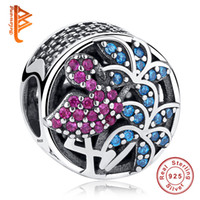 Wholesale Flamingo Bracelet - BELAWANG 925 Sterling Silver Flamingo Charms Crystals&Multi-Colored CZ Loose Beads Fit Pandora Charm Bracelets&Bangles DIY Jewelry Making