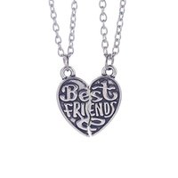 "Wholesale Personalized Gifts For Friends - ""Best Friends"" HandStamped Puzzle Necklace Broken Heart Pendant Vintage Couple Necklaces Personalized Gift for Friends 12PCS LOT"