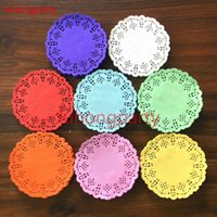 Wholesale Lace Paper Doilies Vintage - Wholesale- 100pcs 3.5inch=8.8cm colorful colored Vintage napkin pads Hollowed Lace Paper mat doily Craft DIY Scrapbooking Weding Decoration