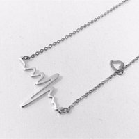Wholesale Heart Beating Necklace Wholesale - New Fashion Cute Heart Beat Electrocardiogram Rhythm Disign Choker Necklace Gift for Doctor Nurse Firefighter Paramedic EMT Medical Gift