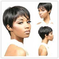 Wholesale cheap full wig bangs - Xiu Zhi Mei Short Bob Cheap Straight Synthetic Hair Wigs Full Bang Black for Women Heat Resistant Wig