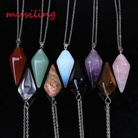 Wholesale Pyramid Stone - Necklace Pendants Pyramid Pendant Gem Stone Pendulum Necklace Jewelry For Women Necklace Chain Charms Amulet Women Mens Jewelry