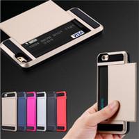 iphone 5c kreditkartenetui großhandel-I6 Plus Armor Slide Geräumige Kreditkartenfächer für iPhone 5 5C 5S SE 6 6S 7 Plus Brieftasche Stoßfeste Hardcover