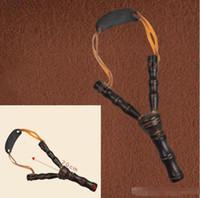 Wholesale Wood Sling Shot - 20cm 8 Inch Bamboo Style Wooden Sling Shot Toys Originality Novelty Games Slingshot Bow Catapult Hunting