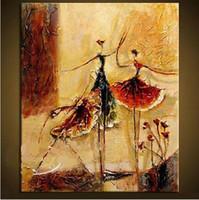 figura ballet óleo venda por atacado-Dançarinos de balé, Genuíno Pintado À Mão Moderna Decoração Da Parede Figuras de Arte Abstrata Pintura A Óleo Sobre Tela de Qualidade Multi tamanhos Disponível seno