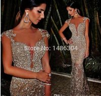 Wholesale Sparkling Rhinestone Short Dress - 2016 New Gorgeous New Prom Gowns Mermaid Sparkle Silver Beads Sequins Rhinestones Long Champagne Evening Dresses Abendkleider BA1036