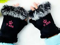 Wholesale Men Hair Cute - Wholesale- Winter women's cute cony hair fluffy fingerless gloves kpop tara t-ara crown printing warm mittens quality lovers guantes