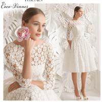 Wholesale Dress Bride Boat - C.V Boat Neck Lace Short Wedding Dresses Knee Length Long Sleeve Simple A line Bride Dresses Elegant Wedding Formal Dresses W0088