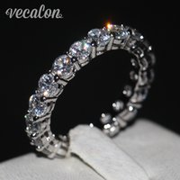 4mm ring großhandel-Vecalon Frauen Band Ring Rundschnitt 4mm Simulierte Diamant Cz 925 Sterling Silber Engagement Ehering für Frauen Modeschmuck