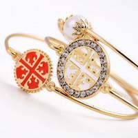 Wholesale Round Bracelet Patterns - 3pcs set New women Exquisite Bracelet Round Flower Pattern Simulated Pearl rhinestone Diamonds Bracelet Set Fashion Pulseira Bijoux Jewelry
