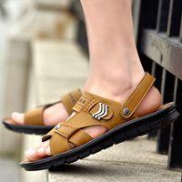 Wholesale Cowhide Leather Sandals - Wholesale Men Summer Outdoor Sandy Beach Sandal Brown Anti Slip Wear Slipper Fashion Casual Cowhide Male Breathable Flat Sandals