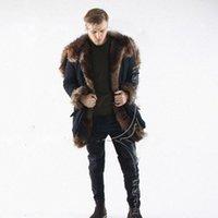 Wholesale Strip Wide - New Winter Faux Fur Long Coat For Men Long Sleeve Hooded Warm Parka Jacket Outwear Black Fur Trim Windbreaker Skiing Coats CJF0923