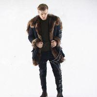 ingrosso taglio di pellicce per cappotti-New Winter Faux Fur Long Coat per uomo manica lunga con cappuccio caldo Parka Jacket Outwear nero Fur Trim giacca a vento Cappotti sci CJF0923