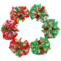 Wholesale Childrens Fabric Flower Headbands - Wholesale Girls Christmas Bow Barrettes Baby Xmas Headbands Girl Childrens Santa Hair Sticks Fabric Flowers Kids Hair Hairband