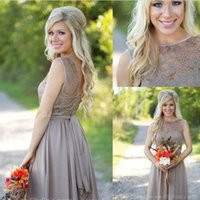 Wholesale Tan Color Dresses - 2016 Tan New Country Style Bridesmaid Dresses Jewel Sheer A Line Knee Length Summer Beach Mini Cocktail Short Maid Of Honor Party Gowns