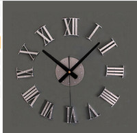 Wholesale wall clocks roman numerals - Vintage wood texture 3D Roman numeral clock,home decoration wall watch,wood sticker home decor free shipping