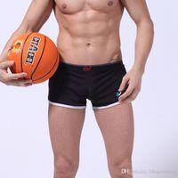 Wholesale Mens Stretch Briefs - Solid Brand Mens Boxer Slack Mesh Stretch Shorts Side Splitting Sports Trunk Swimsuit Men Boxers Shorts