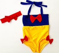 Wholesale siamese swimwear for sale - new children s swimsuit girls snow white siamese swimsuit kids yellow splicing blue Bows swimwear children spa beach swimsuit