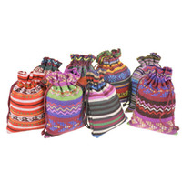 Wholesale Small Cotton Drawstring Pouches - Small Drawstring Jewelry Bags Cotton Gift package Pouches Multicolor Handmade Ethnic Tribal Tribe style 3.9''x5.5