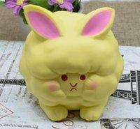 Wholesale Toy Yellow Sheep - 12pcs lot- kawaii squishy yellow sheep jumbo buns slow rising PU simulation toys &gifts