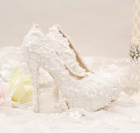 Wholesale New Shaped High Heel - The new pure white lace short with lace wedding shoes comfortable shoes dress shoes wedding 14 mm Heel height cheap