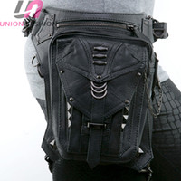 Wholesale Leather Leg Bags - High Quality Retro Punk Style Unisex Women Men Shoulder Bag Rock Gothic Waist Bag Black Leather Leg Bag Metal Bag Waist Packs