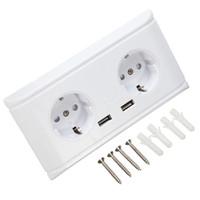 beyaz usb şarj cihazı uk toptan satış-Evrensel İNGILTERE / ABD / AB Beyaz Çift USB Çift Duvar Soket 5 V 2A Şarj Cep Telefonu Elektrik Fiş Adaptörü Için Iki USB Çıkışı