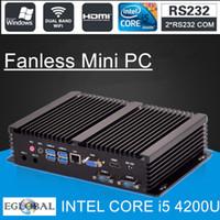 Wholesale Hd Wifi I5 - Wholesale-Fanless Mini PC Core i5 4200U i3 4010U Industrial Computer 2 COM HDMI VGA Dual Display 300M Wifi 4K HD HTPC DHL Free Shipping