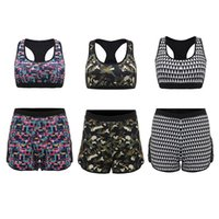 Wholesale Sexy Women Fitness Running Set Sportswear Workout Female Bra Tank Tops Sports Shorts Camouflage Beach Riding Yoga Running Suits