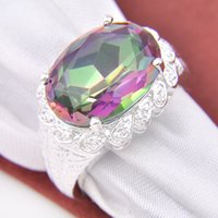 Wholesale Natural Mystic - 5 piece lot Wholesale 925 sterling Silver Natural Mystic Topaz Ring Gemstone R0650