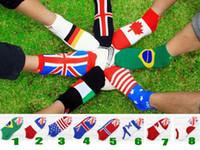 Wholesale Ped Socks Men - new adult man women national flag pattern socks USA UK CA FR JA 8style cute low cut ped Socks hot sale