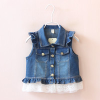 Wholesale Kids Denim Cowboy Vest Wholesale - Newest 2016 Autumn Fashion Girls Jacket Kids Vests Waistcoats Lace Denim Vest Coat Cowboy Coats For Gils Outwear Blue K7527