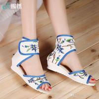 chaussures les plus fraîches achat en gros de-2016 nouvel été vieux Beijing chaussures de style folklorique chaussures brodées avec bouche de pente cool BOOTS SANDALS