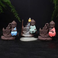 Wholesale Small Buddhas - The Little Monk Censer Backflow Incense Burner Small Buddha Cone Incense Burner Incense Sticks Holder Yixing Purple Creative Home Decor