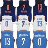 17/18 Oklahoma City dei nuovi uomini # 13 Paul George 0 Russell Westbrook 7 Carmelo Anthony Home blu Cuciture bianche
