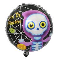 balões da folha do dia das bruxas venda por atacado-Novidade New Halloween 18 Polegada Balloon Party Decoração Black Cat Witch Cabeça De Abóbora Crânio Cabeça Folha De Alumínio Balão Atacado