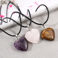 Wholesale Heart Shape Couple Necklace - Heart-shaped Healing Chakra Beads Necklace Purple Rose Quartz Turquoise Amber Pendant Choker Necklace Couples Necklace PU Rope Chain Jewelry