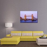 Wholesale River Picture - 1 Picture Combination London Tower Bridge From The River Thames Large Fine Art Oil On Canvas Painting Wall art For Home Decor