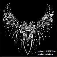 ingrosso disegni hot fix-21 * 23 cm Hot Fix Strass motivo Calore trasferibile su disegno Ferro su vestiti T Shirt Scarpe Borse vestito da ballo fai da te bianco strass drop drop