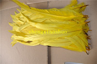 Wholesale Yellow Rooster Feathers - Free shipping 100pcs lot 12-14inch YELLOW Cock feather loose rooster coque feather loose halloween feather decor
