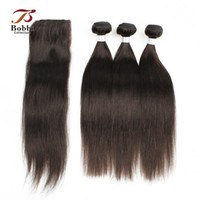 Wholesale Silky Straight Remy Hair - 3 Bundles with Lace Closure Darkest Brown Brazilian Silky Straight Virgin Hair Weaves Color 2 Remy Human Hair Free Middle Three Part Closure