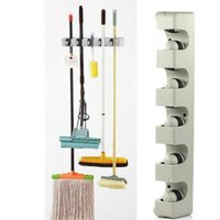 Wholesale Clothing Wall Hanger - MOP Broom organizer with 5 slots mop frame broom frame Kitchen Organizer Wall Shelf Mounted Hanger Brush Broom Mops Organizer Tool KKA2378