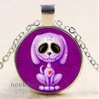 Wholesale Silver E Charms Pendant - 10pcs Sugar Skull Dog Chain Necklace,Christmas Birthday Gift,Cabochon Glass Necklace Silver Bronze Black Fashion Jewelry Pendant E-615