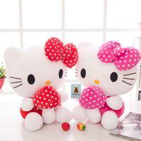 Wholesale Hugging Pillows - 20CM Sweet New KT Cat Hello Kitty Plush Toys Cute Hug Mushroom Hello Kitty KT Cat Pillow Dolls For Kids Baby Girl Gifts
